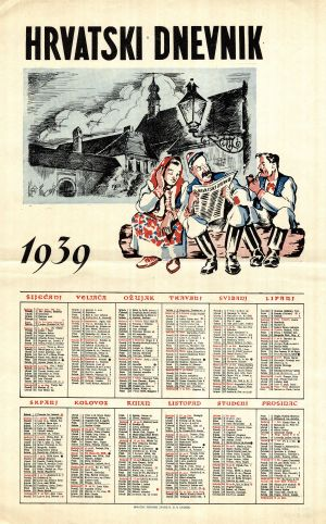 MUO-008305/28: HRVATSKI DNEVNIK 1939: kalendar