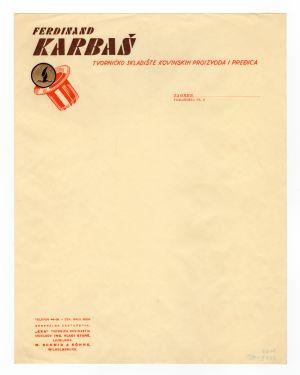 MUO-008307/49: Ferdinand KARBAŠ tvorničko skladište kovinskih proizvoda i pređica: listovni papir