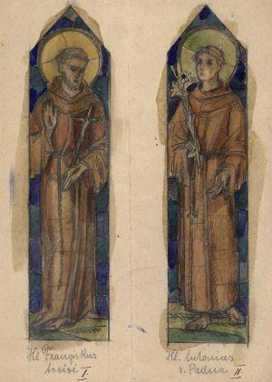 MUO-034669/05: Sv. Franjo Asiški i Sv. Antun Padovanski: skica za vitraj