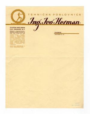 MUO-008307/18: ing. Ivo Herman Zagreb: listovni papir