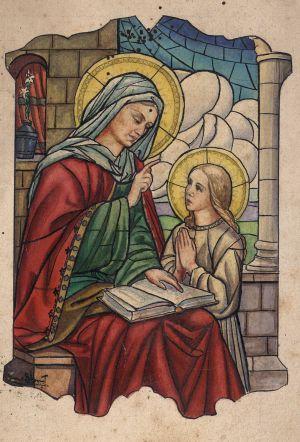 MUO-034640: Sv. Ana podučava: skica za vitraj