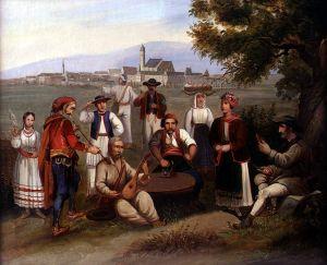 MUO-025434: Guslač i seljaci na polju pred Zagrebom: slika