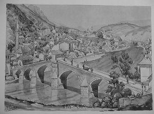 MUO-029894/42: Konjic: Pogled na most i grad: grafika