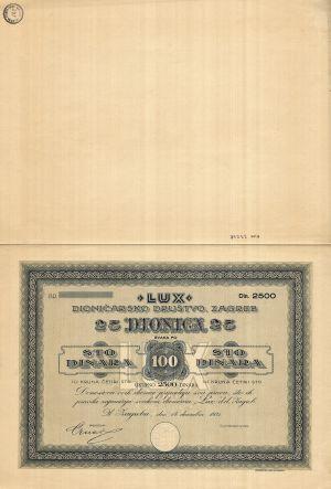MUO-023278: 'LUX' dioničarsko društvo: dionica