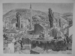MUO-029894/01: Sarajevo: Pogled na grad i Gazi Husref Begovu džamiju: grafika