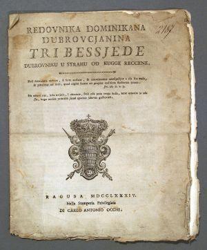 MUO-008329: Redovnika Dominikana Dubrovcjanina, Tri besjede Dubrovniku...1784.: brošura