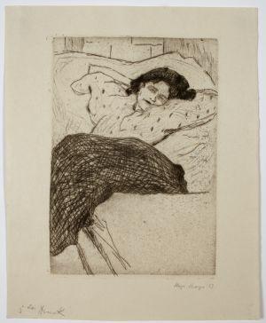 MUO-050954: Žena na krevetu: grafika
