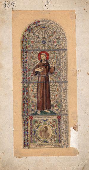 MUO-029406: Sv. Franjo Asiški: skica za vitraj