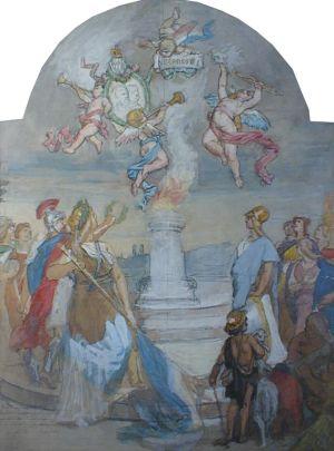 MUO-004722: Apoteoza prigodom srebrenog pira kralja Ljudevita II Bavarskog: slika
