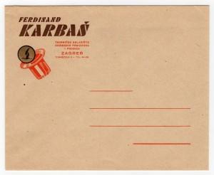 MUO-008307/53: Ferdinand KARBAŠ tvorničko skladište kovinskih proizvoda i pređica: poštanska omotnica