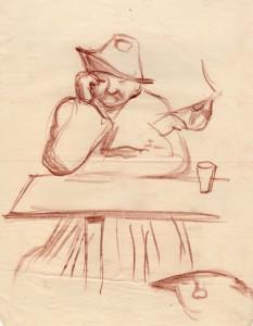 MUO-056455: Čovjek za stolom: crtež