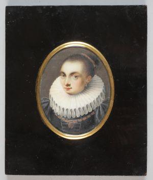 MUO-000163: Mlađa žena s velikim ovratnikom: minijatura
