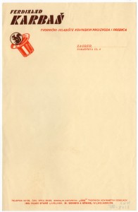 MUO-008307/51: Ferdinand KARBAŠ tvorničko skladište kovinskih proizvoda i pređica: listovni papir