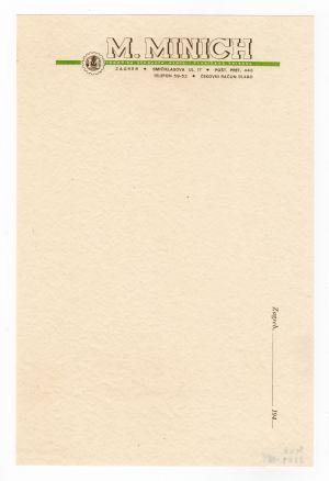 MUO-008307/31: M.MINICH trgovina strojeva, alata i tehničkog pribora: listovni papir