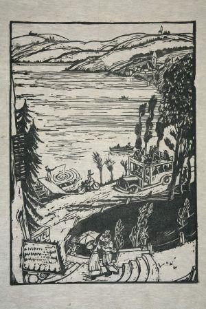 MUO-029895: Izletište na jezeru: grafika