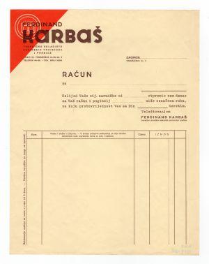 MUO-008307/50: Ferdinand KARBAŠ tvorničko skladište kovinskih proizvoda i pređica: račun