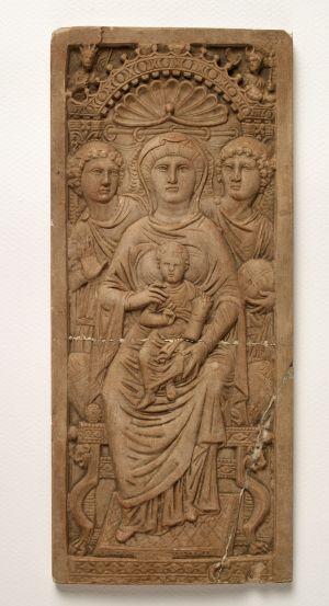MUO-003972: Krilo diptiha Isus i Djevica Marija: reljef