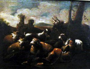 MUO-000006: Krajolik sa pastirom, kozama i ovcama: slika