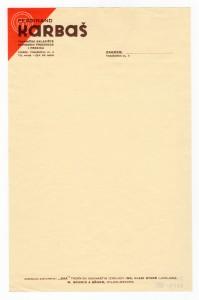 MUO-008307/52: Ferdinand KARBAŠ tvorničko skladište kovinskih proizvoda i pređica: listovni papir