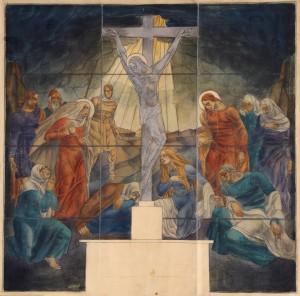 MUO-013327: Crtež za vitraž kapelice Trpećeg Isusa: crtež