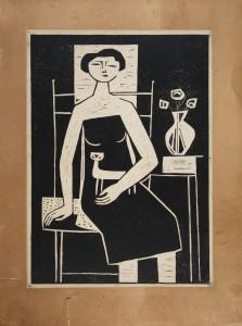 MUO-010142: Žena s mačkom: grafika
