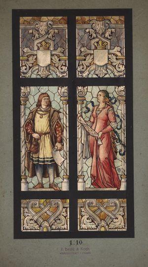 MUO-029405: trgovac i žena: skica za vitraj