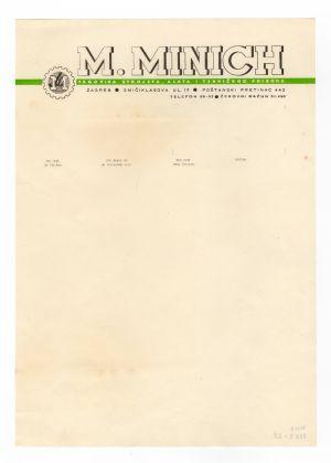 MUO-008307/29: M.MINICH trgovina strojeva, alata i tehničkog pribora: listovni papir