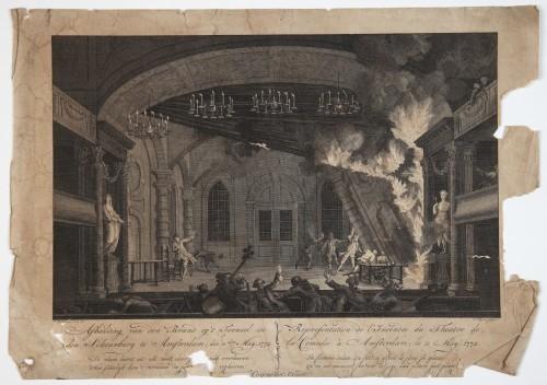 MUO-058201: Afbeelding van den brand op't tooneel in den schouwburg te Amfterdam; den llden May, 1772.: grafika