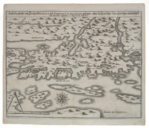 MUO-058925: TAFEL DER STATTE VND HERSCHAFFTEN ZARA VND SEBENICO IN DALMATIA GELEGEN ...: zemljopisna karta